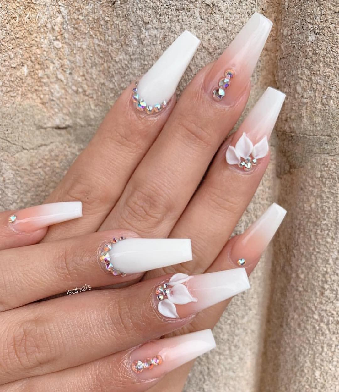 2019 Charming Latest Nail Designs Long White Nails White Acrylic Nails Ombre Acrylic Nails