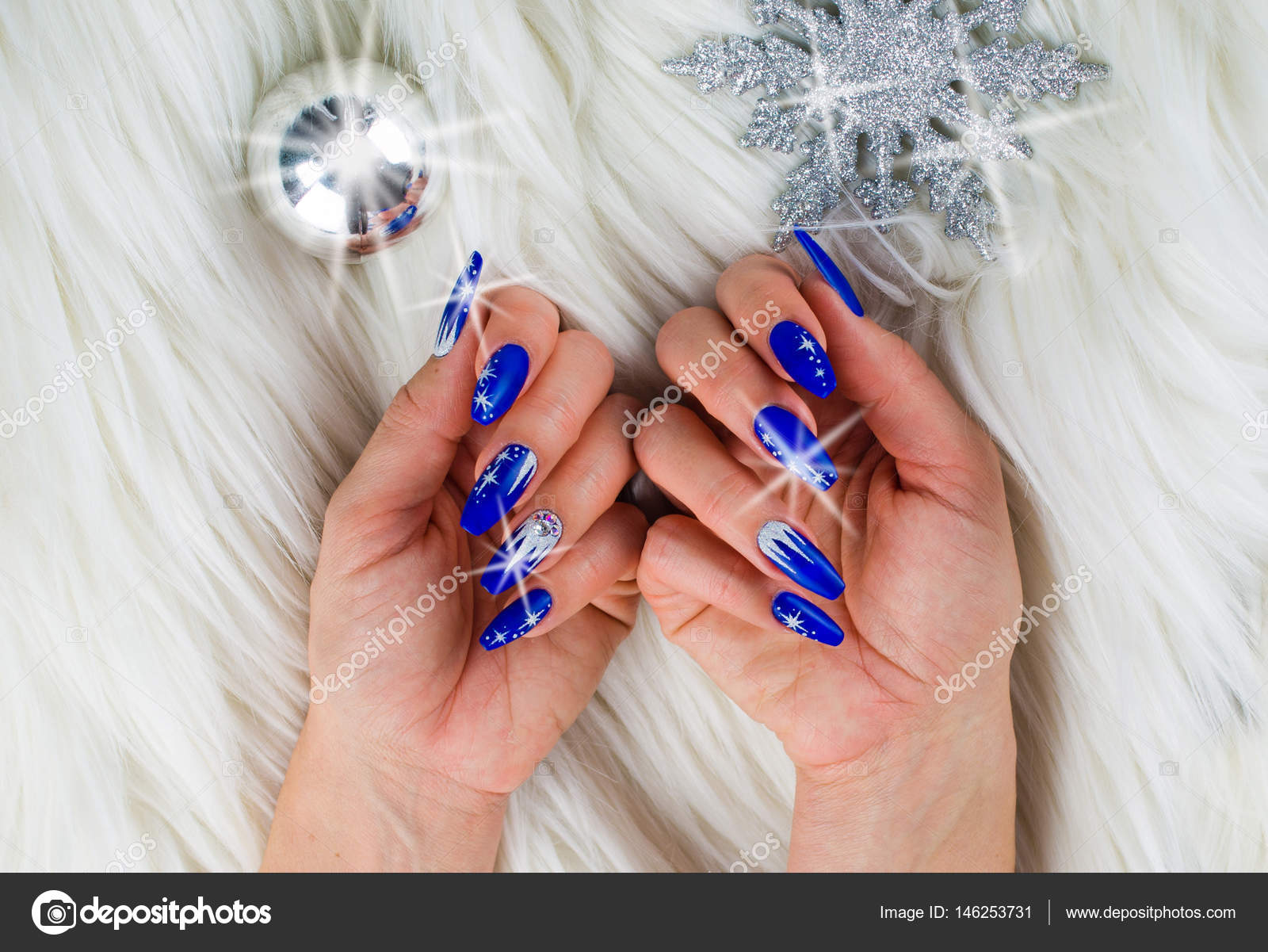 Christmas Blue Nails Stock Photo C Pmmart 146253731