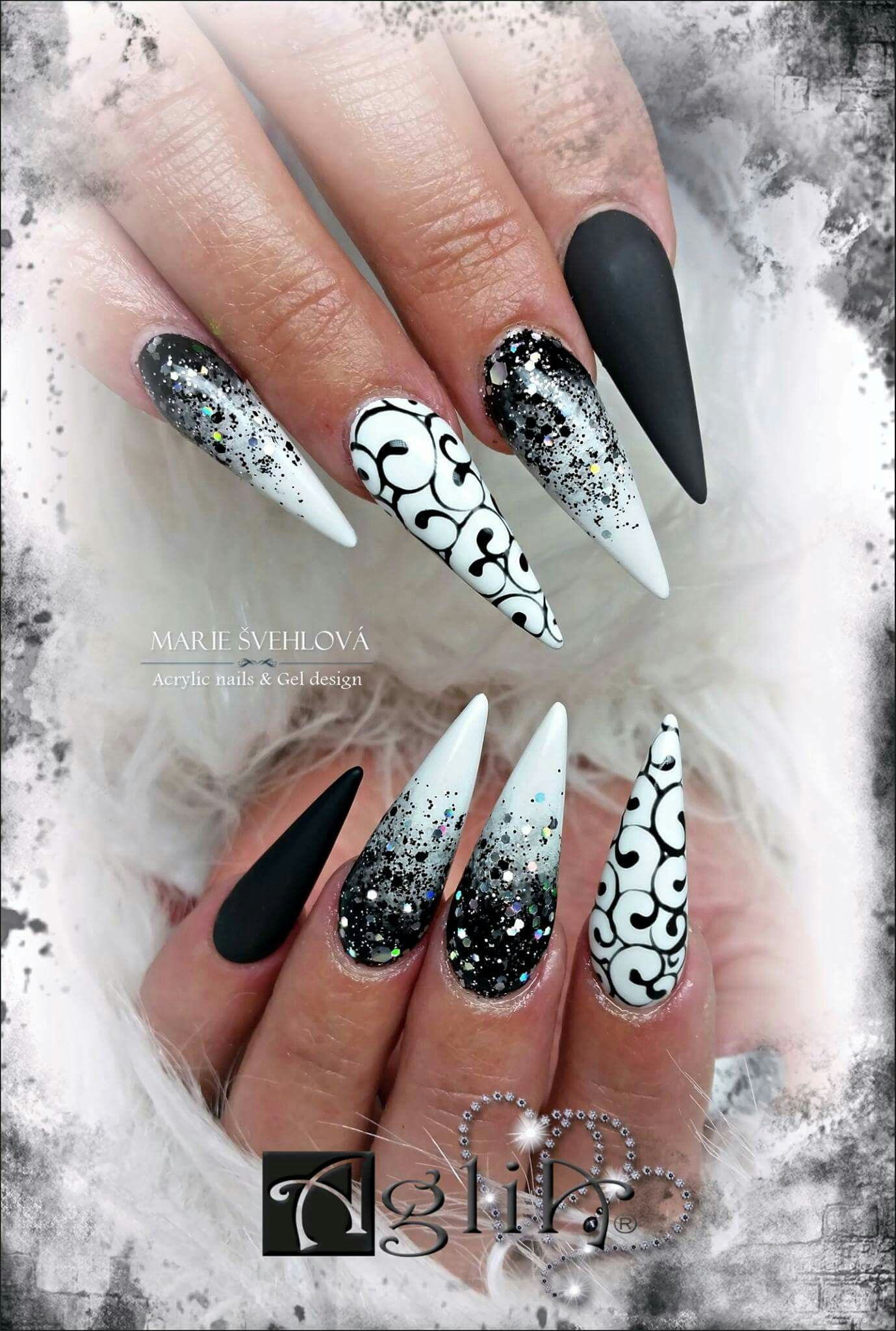 Acrylic Nails Gel Design Black White Nails Black Nail Designs White Nail Art White Nails