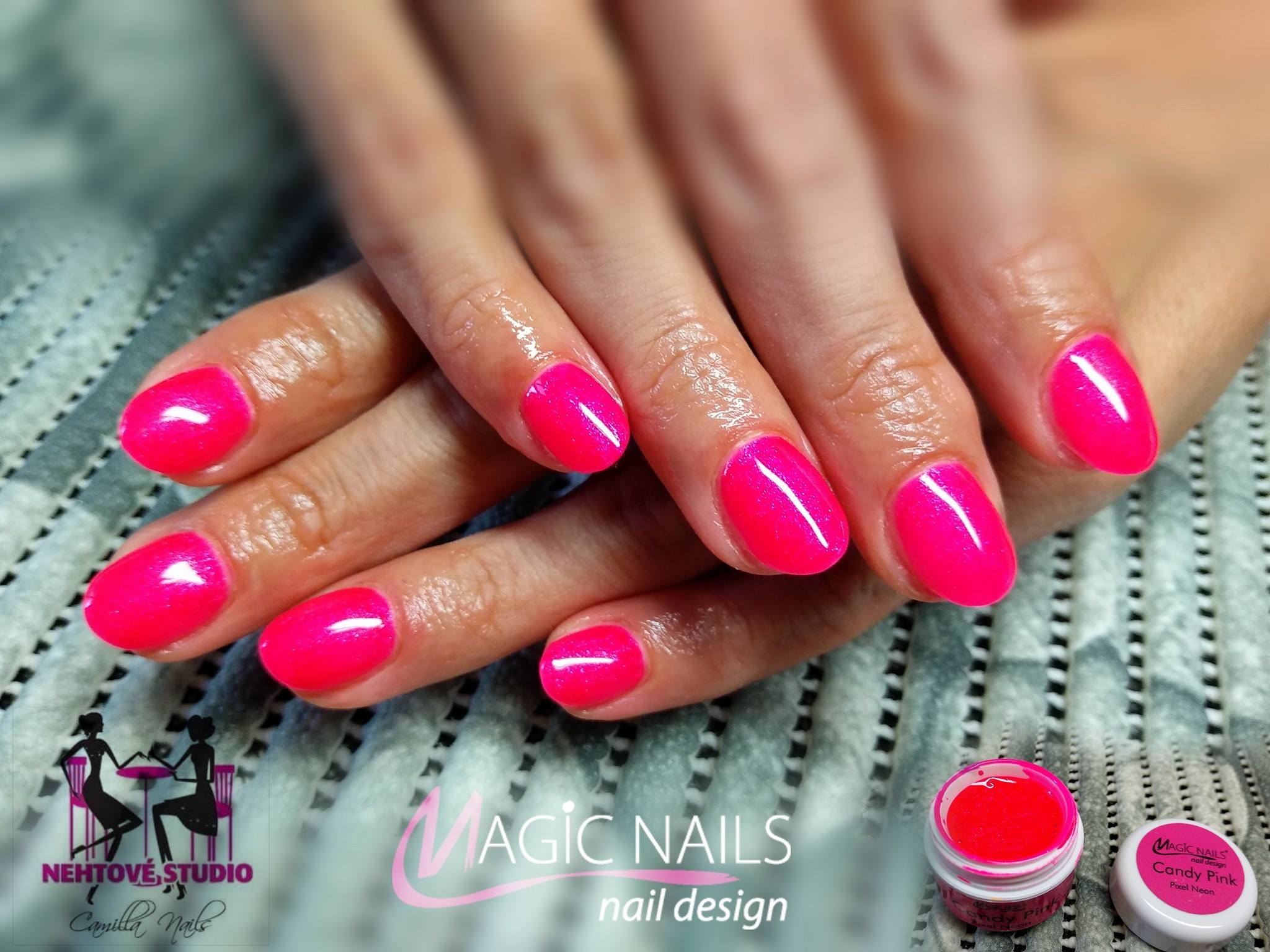 Uv Gely Neon Pixel Candy Pink Magic Nails Gelove Nehty