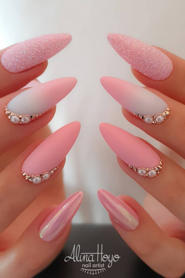 Nail Art Holiday The Best Wedding Bridal Nail Art From Nail Art Gallery And Pinterest With Beautiful Nail A Bridal Nail Art Pink Acrylic Nails Bridal Nails