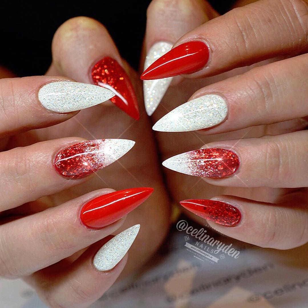 Red And White Ombre Christmas Inspired Stiletto Nails Cervene Nehty Gelove Nehty Design Nehtu