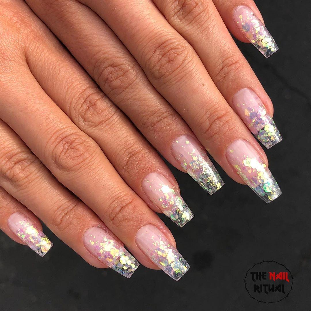 Mermaid Tips Nailpro Nailsofinstagram Nailswag Nailsoftheday Gelnails Clear Glitter Nails Holographic Nails Acrylic Sparkle Acrylic Nails