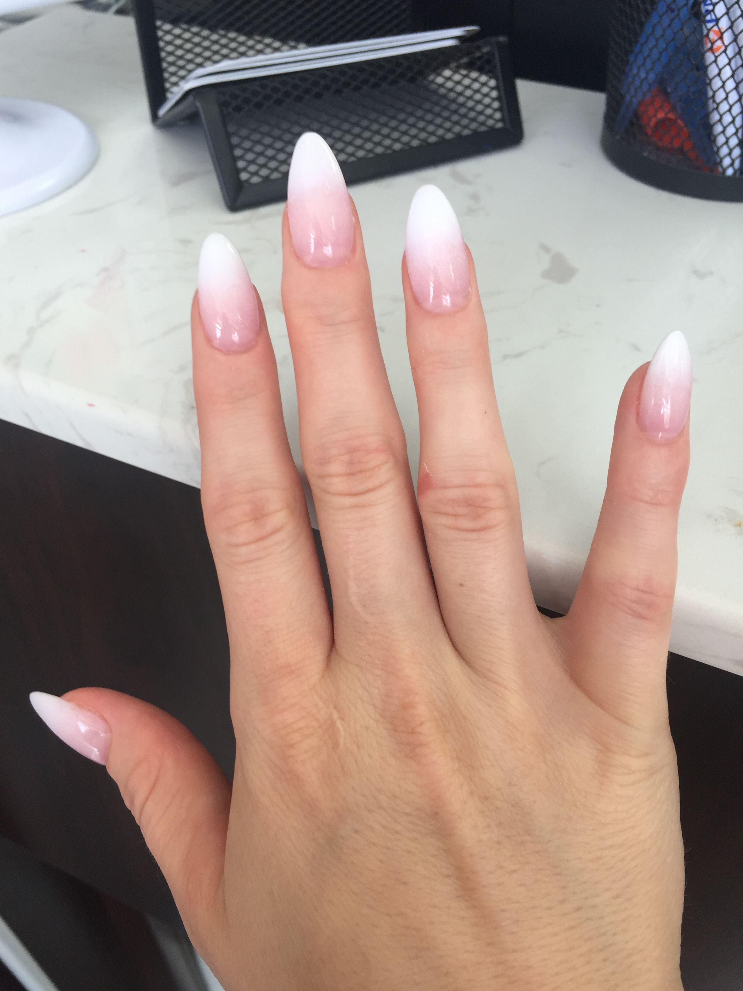 French Ombre Almond Shaped Faded Nails French Fade Nails Ombre Acrylic Nails