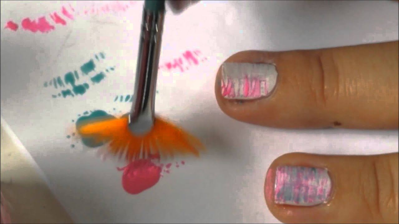 Fun Brush Nail Art Manikura S Vejirkem Tutorial Youtube