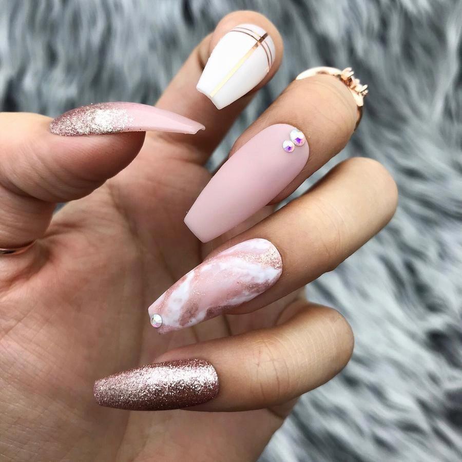 Handmade Love Affair Pink Marble Press On Nail Set Coffin Nails Designs Nail Designs Pink Nails