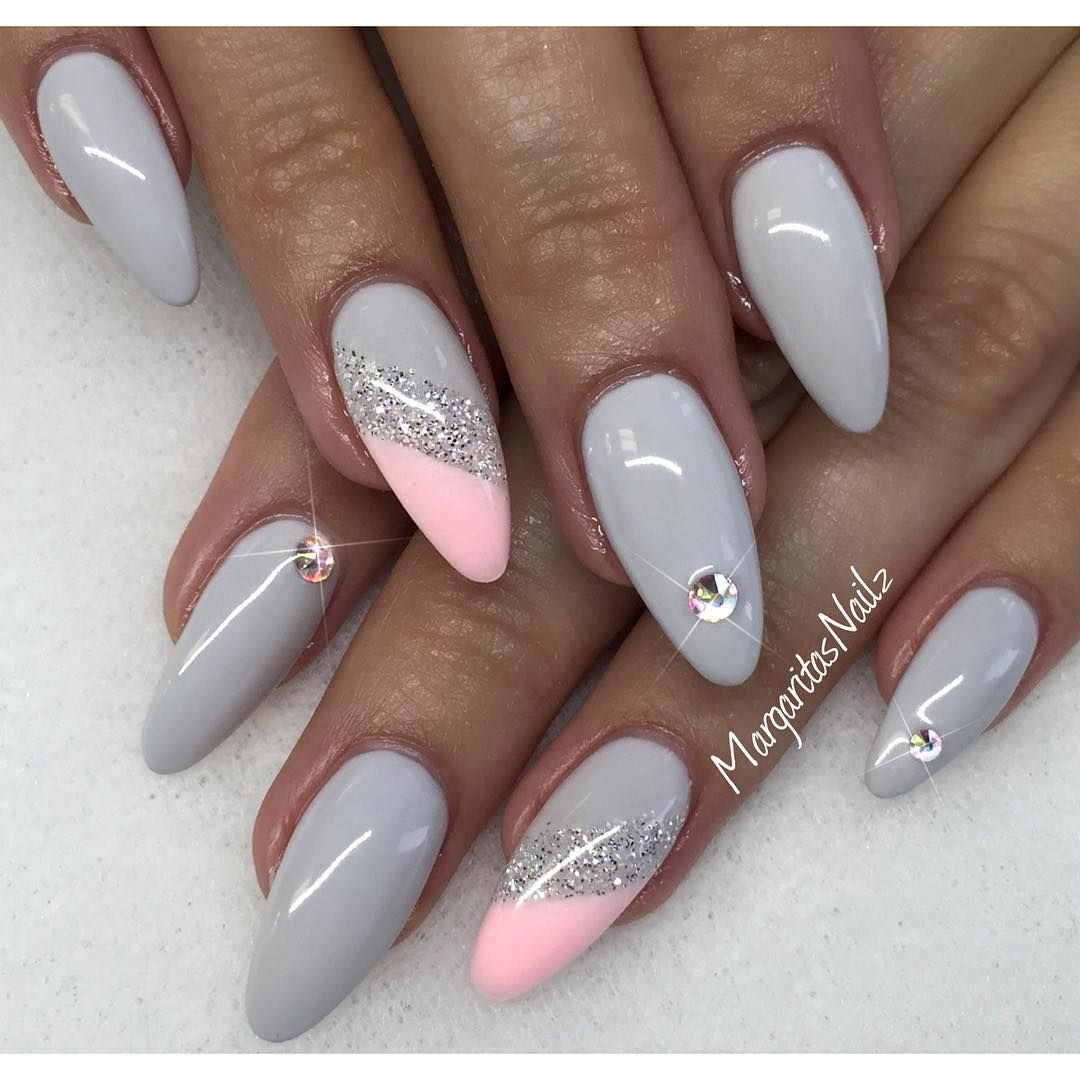 Grey Pink Glossy Nails Nageldesign Glitzernagel Designer Nagel
