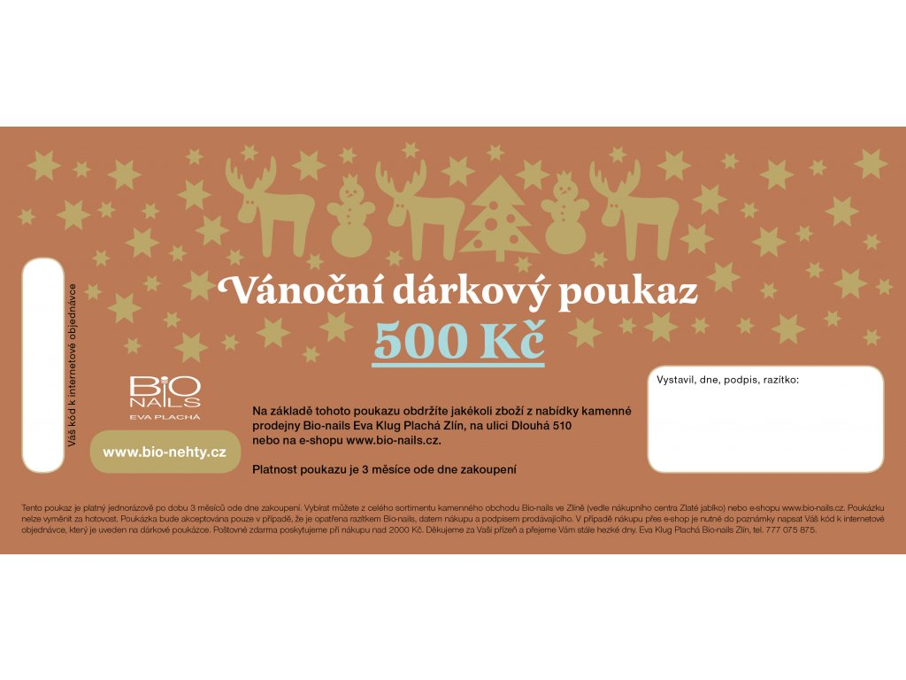 Vanocni Darkovy Poukaz Na 500 Kc Skoricovy Bio Nails
