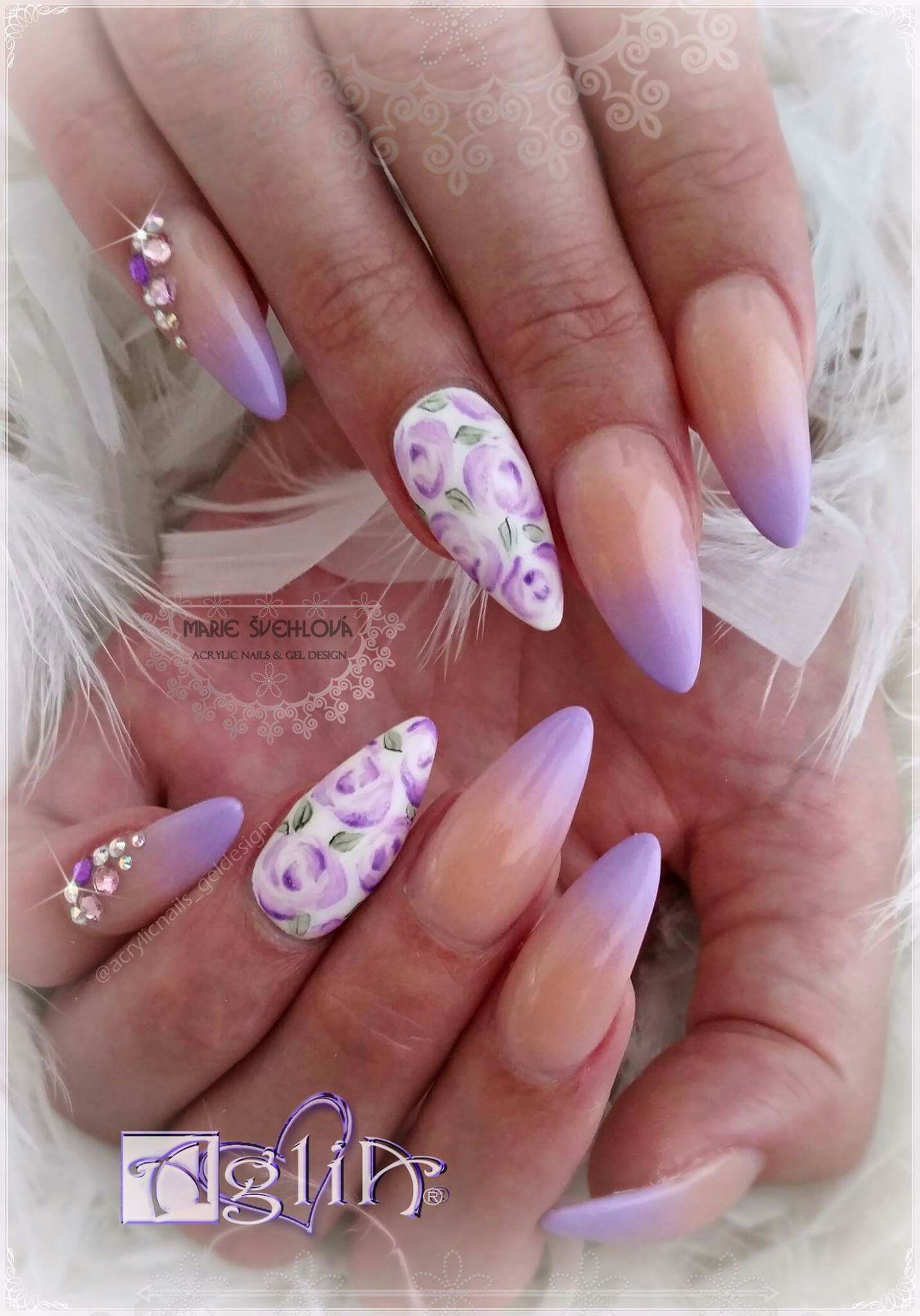 Acrylic Nails Gel Design Work Nails Rhinestone Nails Nails