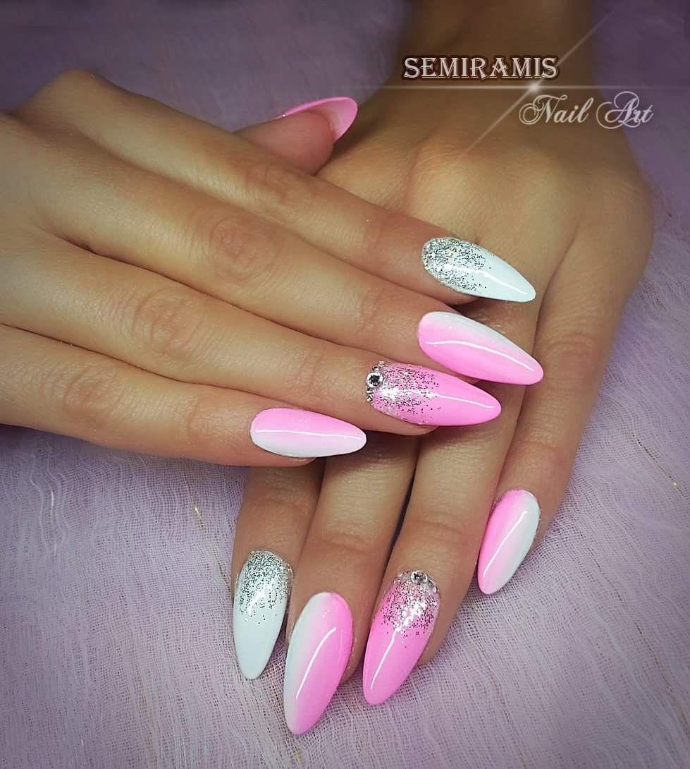 White Pink Ombre Nails Design Nehtu Gelove Nehty Akrylove Nehty