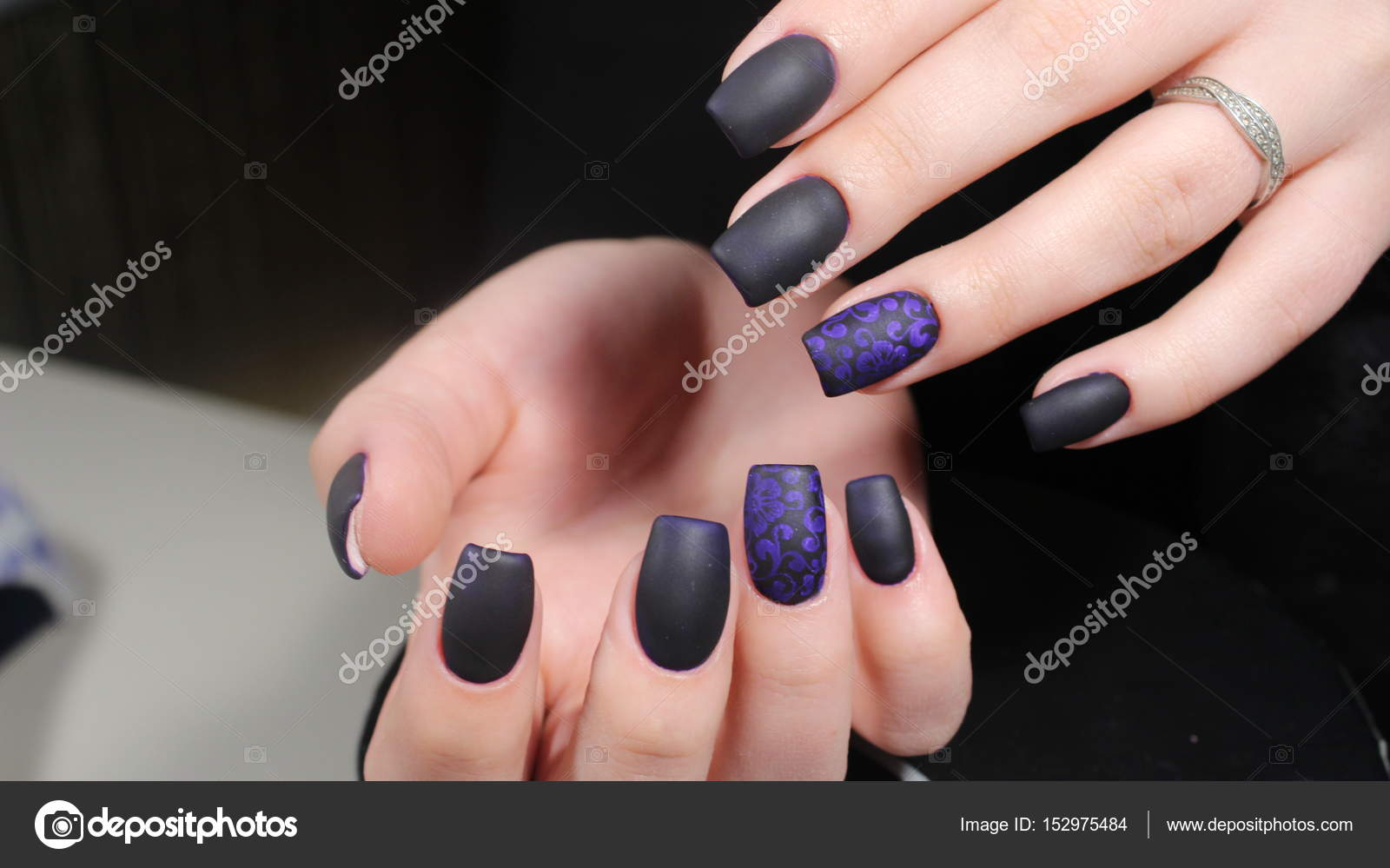 Black And Blue Nail Designs Design Of Manicure Matt Black And Blue Nails Stock Photo C Smirmaxstock 152975484