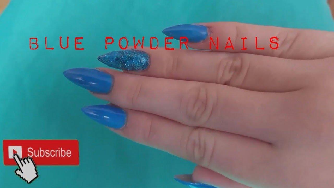 Navod Na Jednoduche Modre Nehty S Pouzitim Pigmentoveho Pudru Youtube