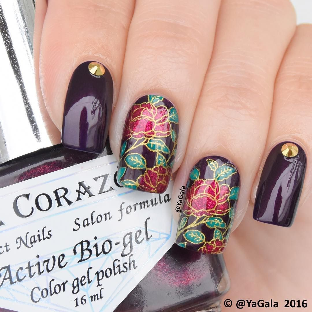 Instagram Photo By Galina S Apr 22 2016 At 2 01am Utc Stamping Nail Art Floral Nails Fingernails Painted
