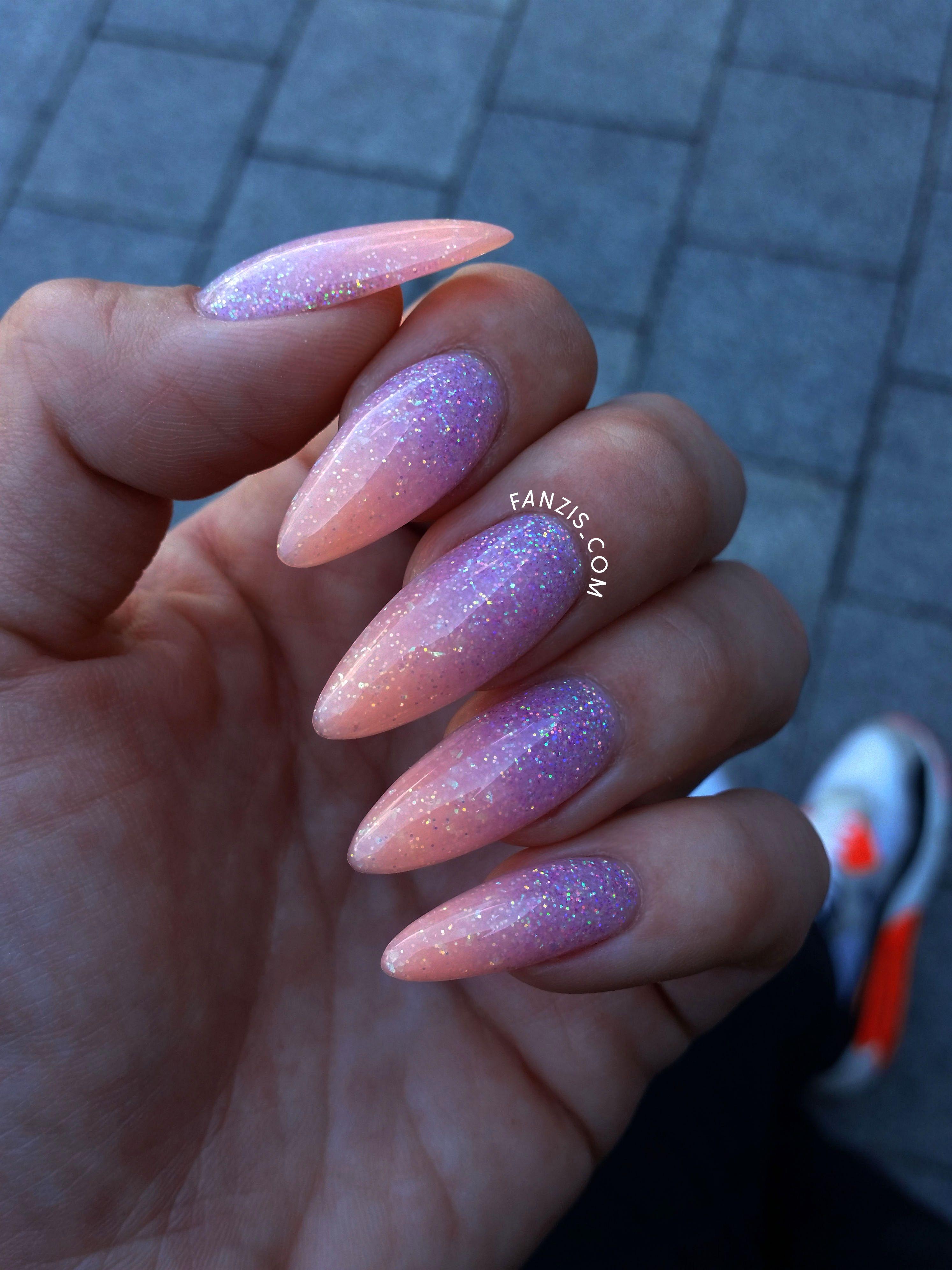 Neon Ombre Glitter Nails Ombre Nehty Gelove Nehty Design Nehtu