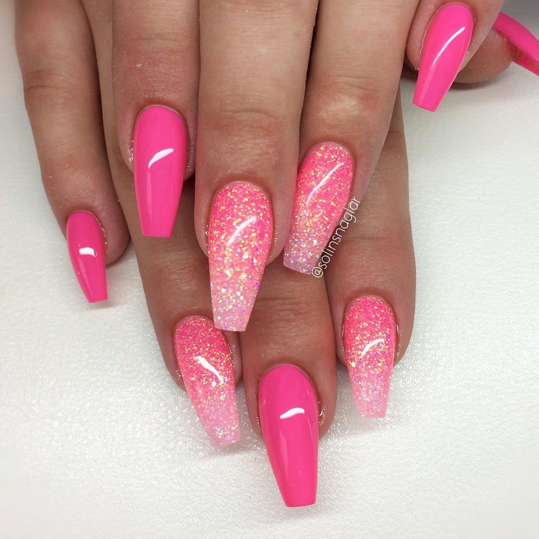 Nya Fargen Lollipop Med Rosa Glitterombre Gelove Nehty Design Nehtu A Nehty Stiletto