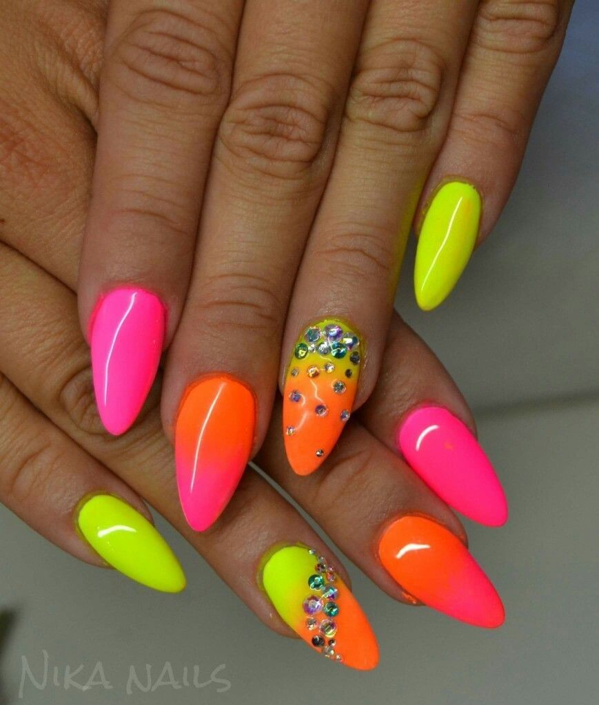 Geel Roze Ombre Oranje Roze Gel Nail Art Designs Summer Nails Neon Neon Nails