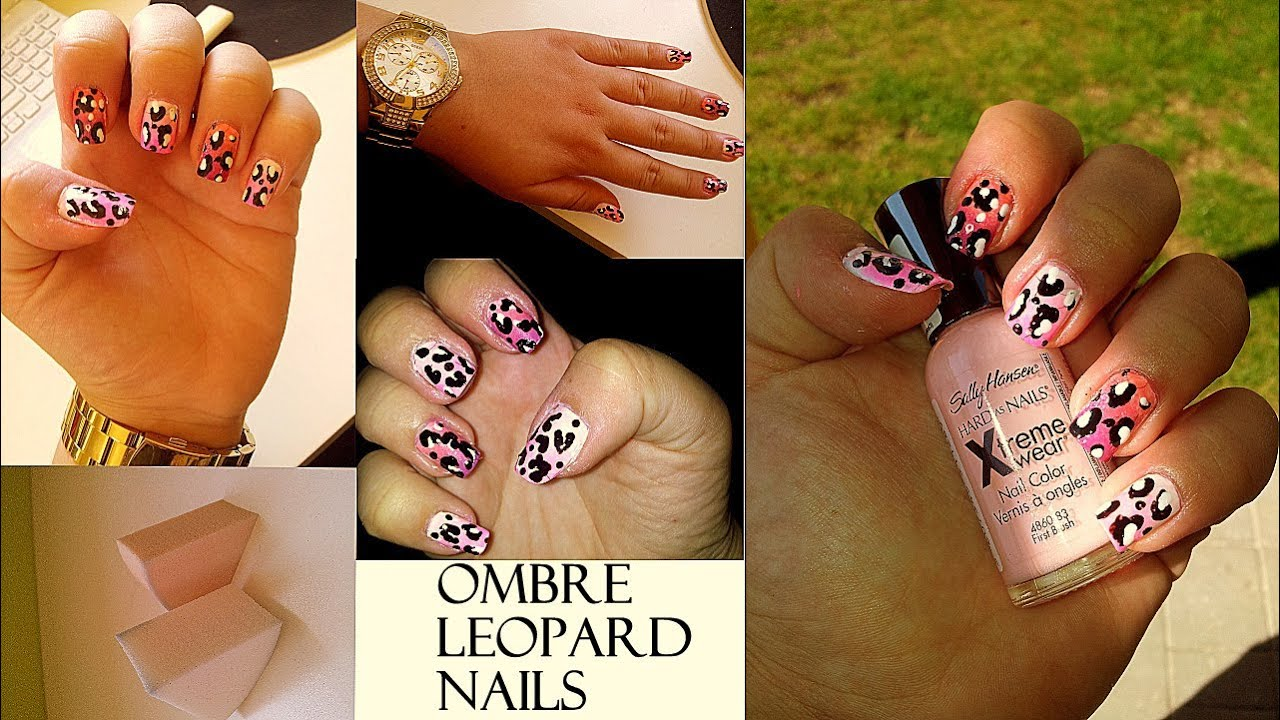 Ombre Leopardi Nehty Ombre Leopard Nails Tutorial Youtube