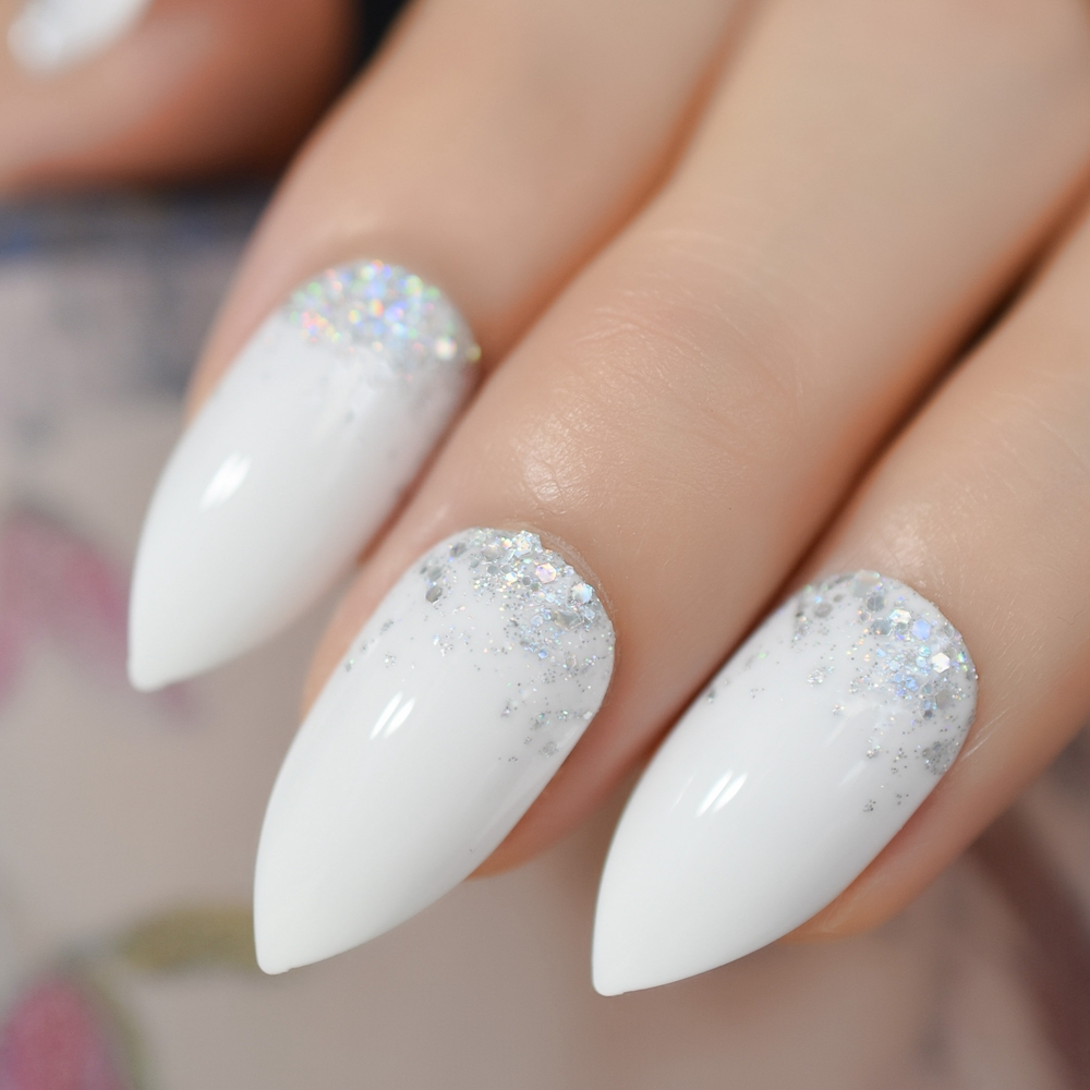 Ombre Glitter Fake Nails Stiletto Nail Sharper White Nails Cool Handmade False Nails Cusotm With Holo Glitter False Nails Aliexpress