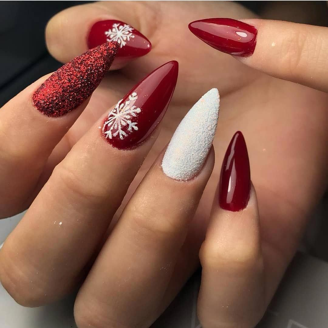 80 Winter Nail Art Design Ideas Click Here For Larger Image Red Nails Stiletto Winter Nails Acrylic Water Ombre Nehty Design Nehtu Nail Art