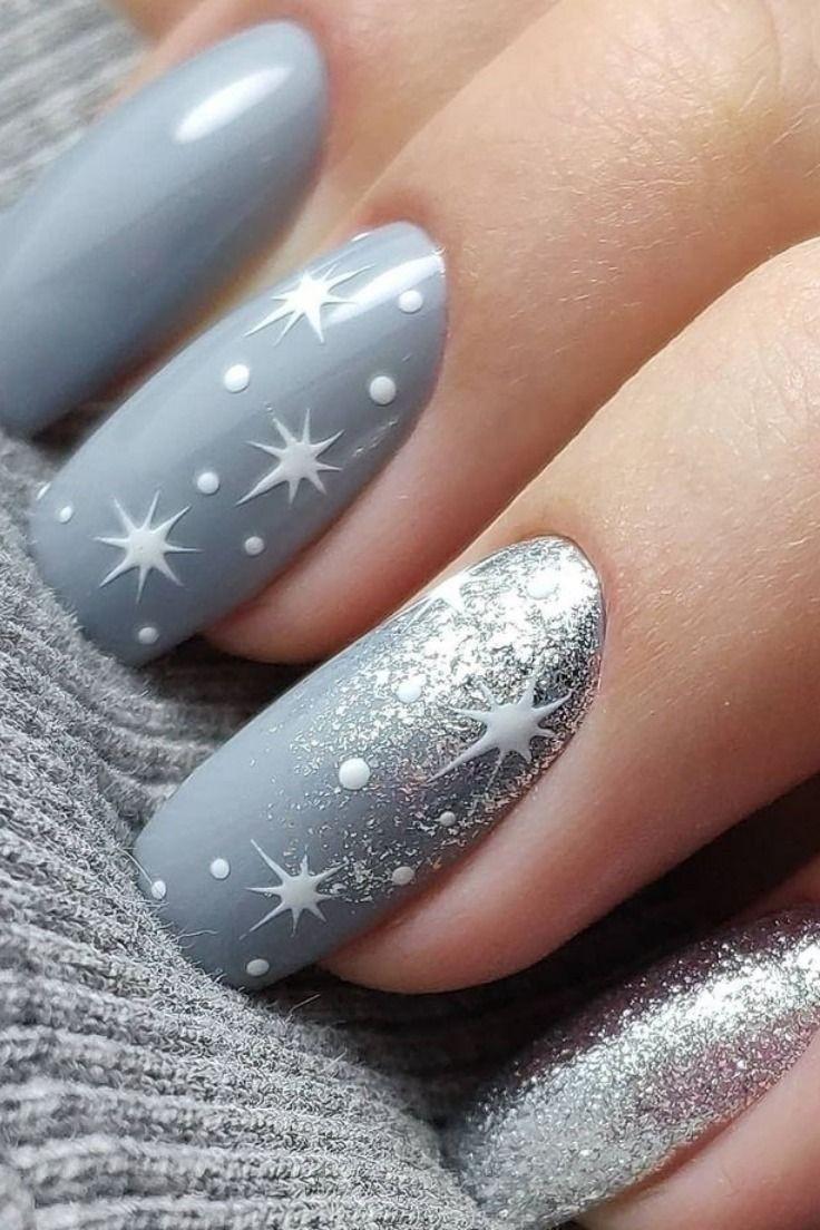 30 Trendy Snowflake Nails Of 2019 Christmas Gelove Nehty Barevne Nehty A Design Nehtu