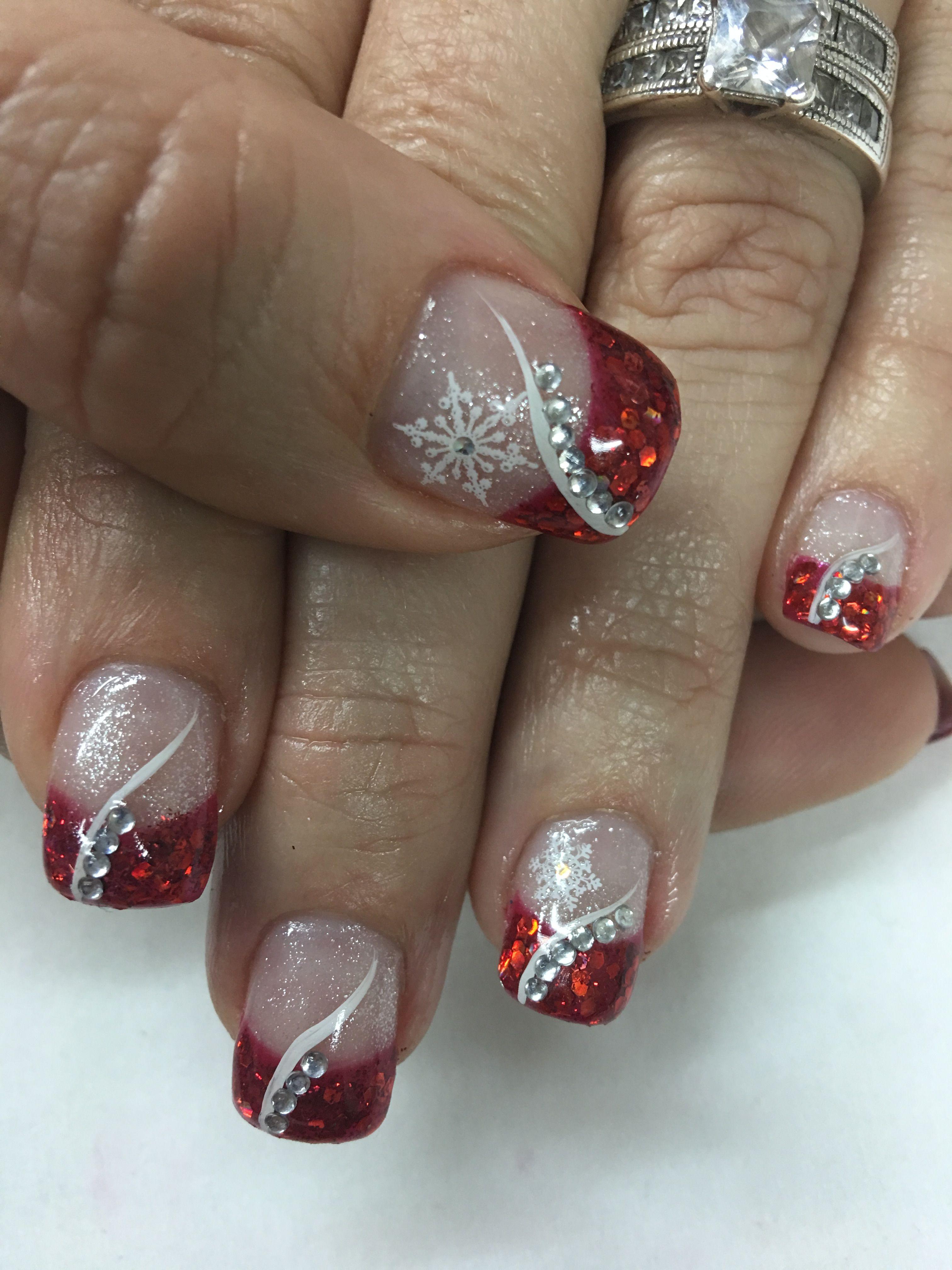 Red Glitter French Bling Rhinestones Snowflake Christmas Gel Nails Nehty