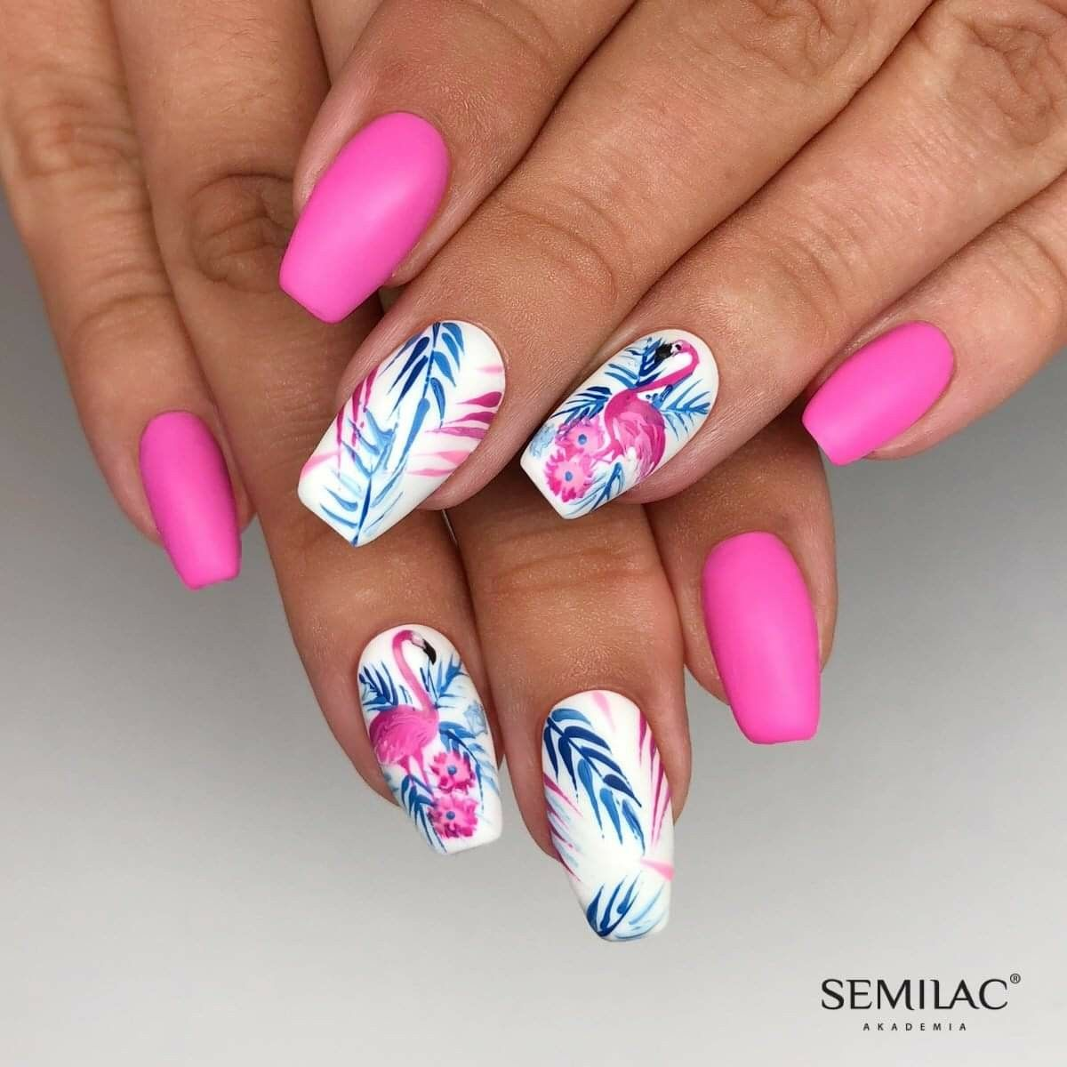 Pin By Tynka Korotvickova On Nails Flamingo Nails Cute Acrylic Nails Tropical Nails