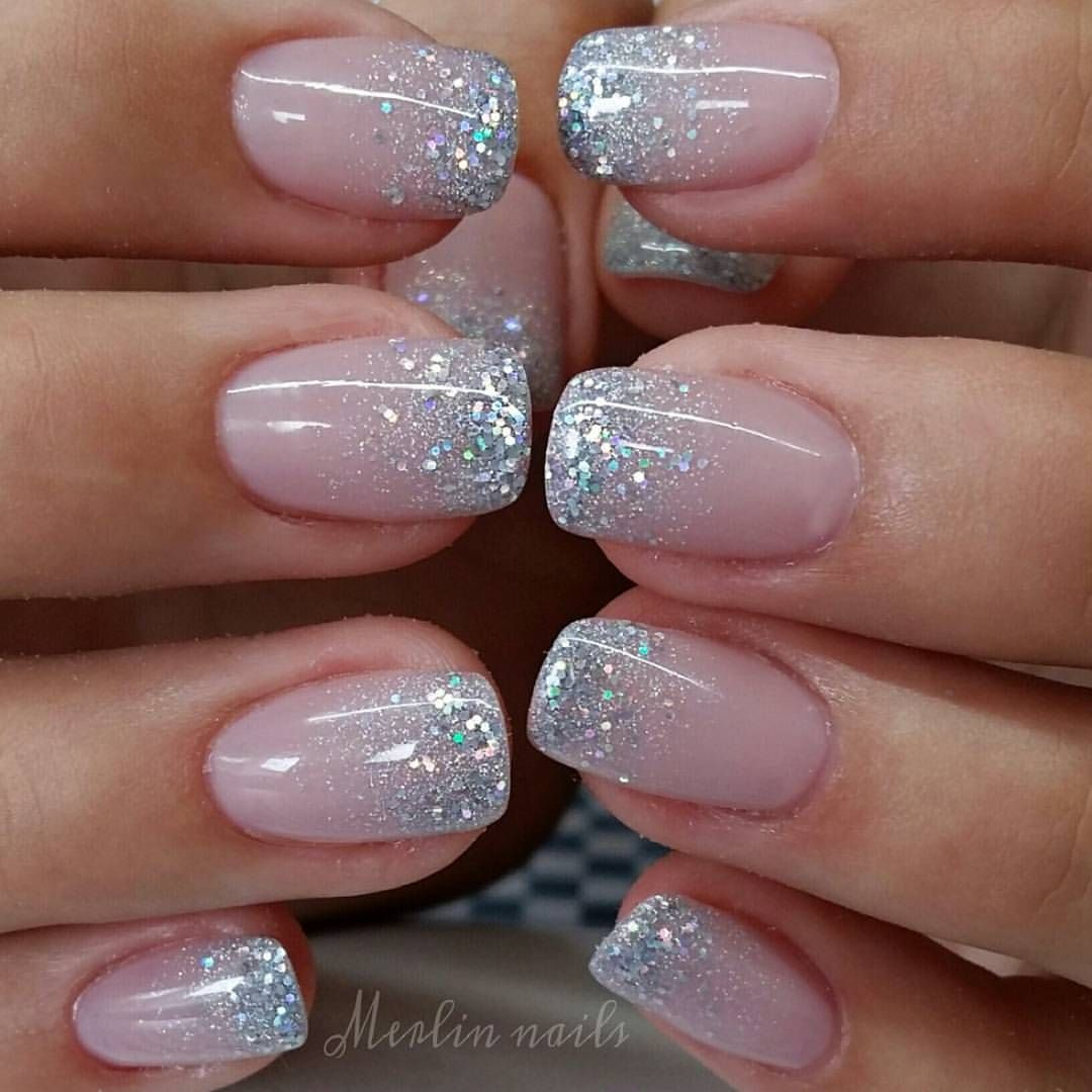 Simple Sparkling Ombre Crystalnails Gel Gelnails Nail Nails Nailstagram Nailsofinstagram Notpolish Manicure Art Ombre Nehty Gelove Nehty Design Nehtu