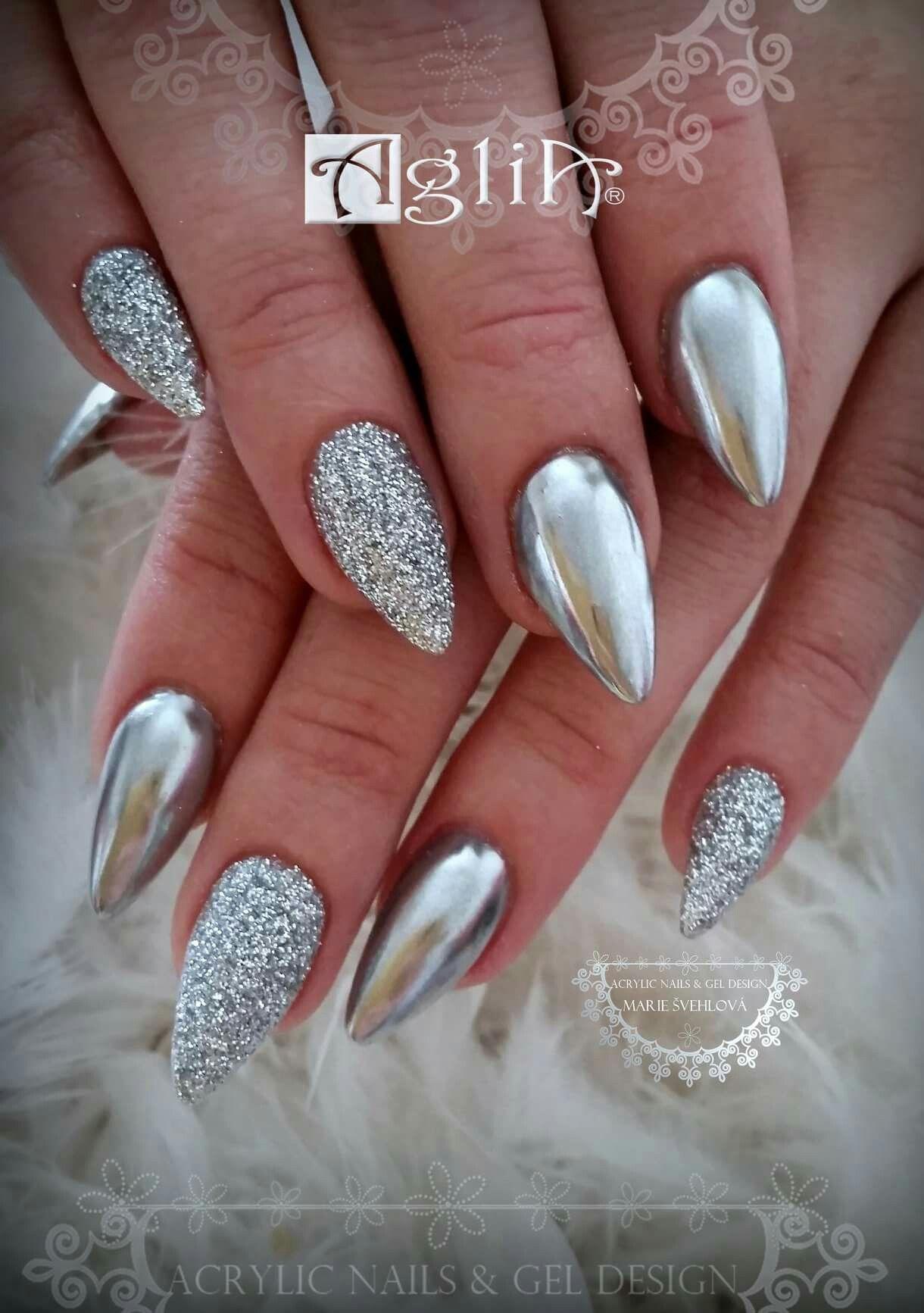Acrylic Nails Gel Design Silver Nails Silver Chrome Gelove Nehty Nehty Vzory Pro Zdobeni Nehtu