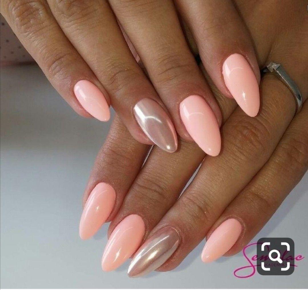 Pin By Lidus Dvornikova On Nail Designs Peach Nails Simple Spring Nails Pink Gel Nails