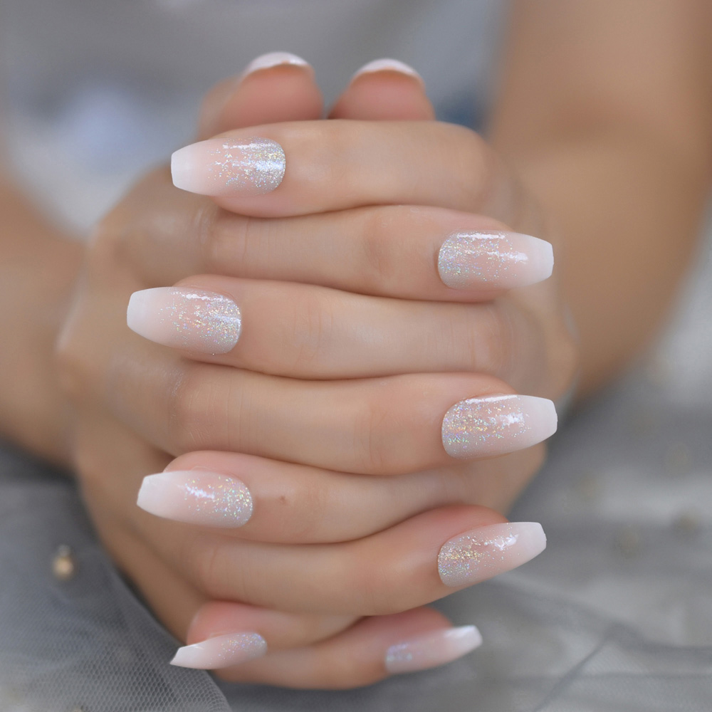 Coffin French Ombre Glitter Star Nails Gradeint Ballet Nude Silver Powder Fake Nails Classic Acrylic Gel Pre Designed False Nail False Nails Aliexpress