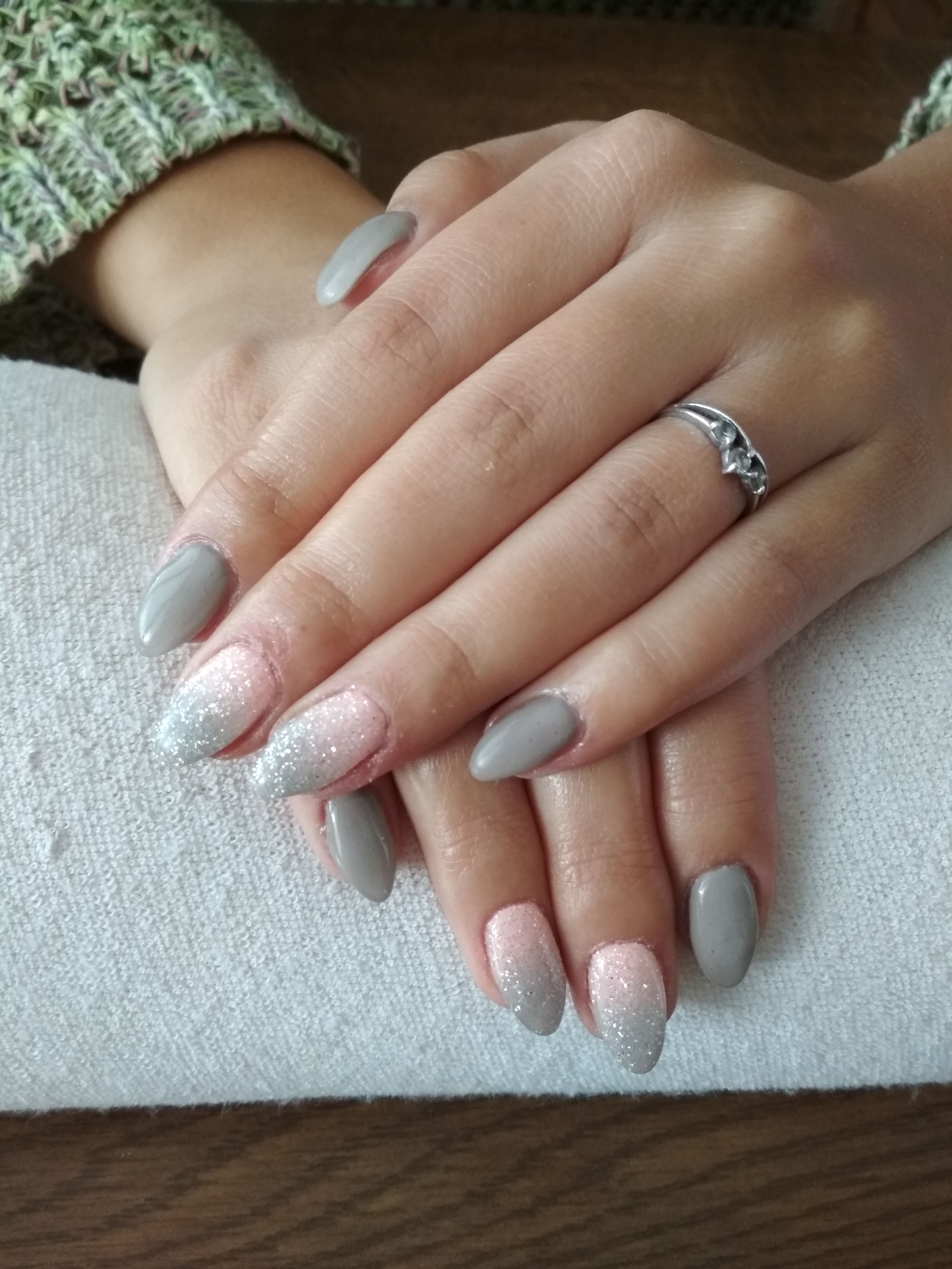 Grey Gel Grey Pink Ombre White Glitter White Glitter Nails Pink Ombre