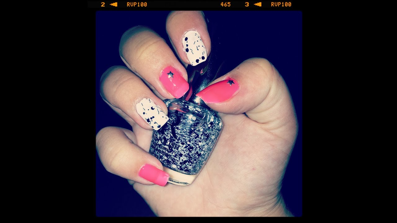 Neonove Ruzove Nehty A Skvrnity Lak Neon Pink And Polka Dots Nails Youtube