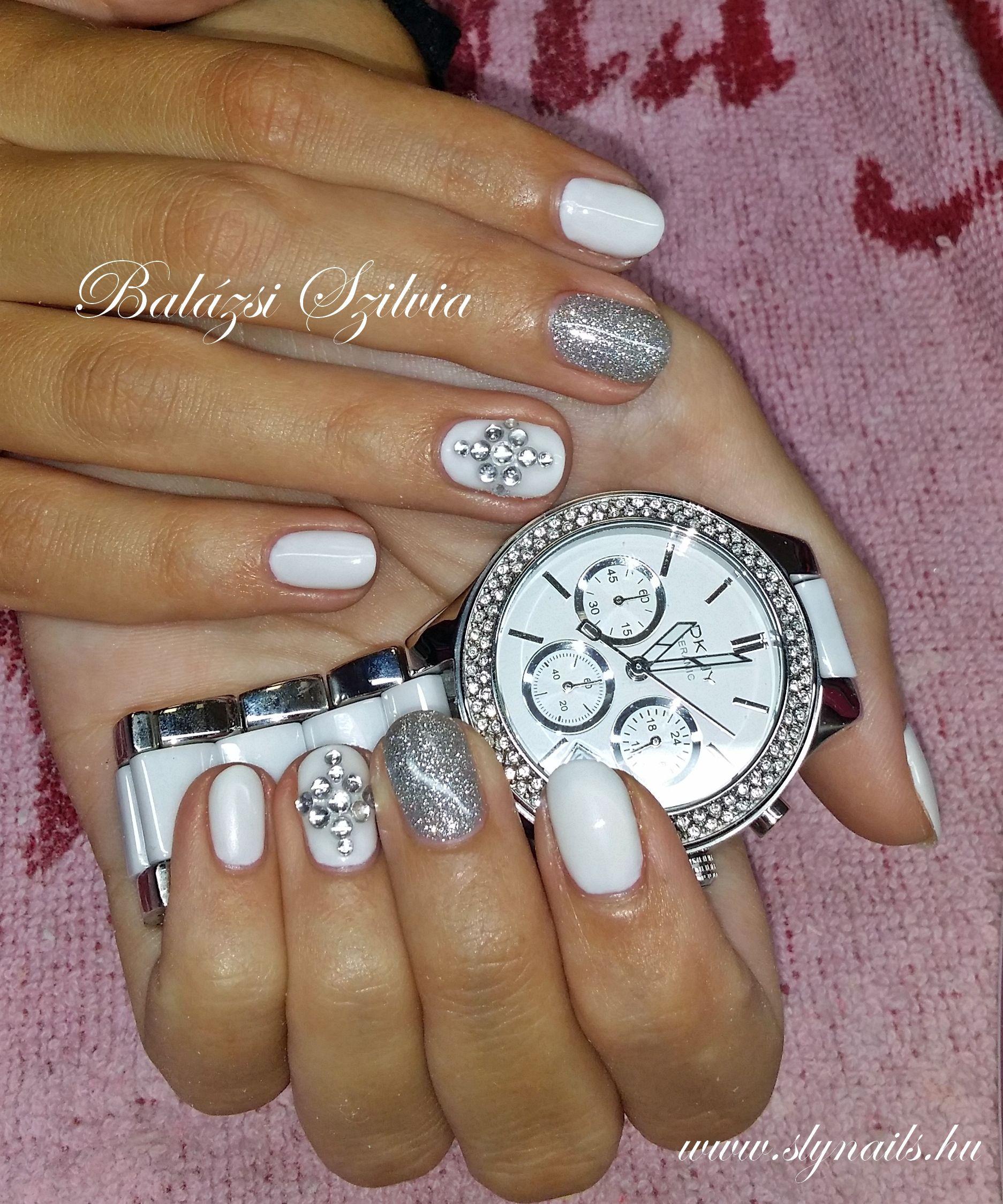 Ezust Koves Gel Lakk Nail Art Nails Silver Watch