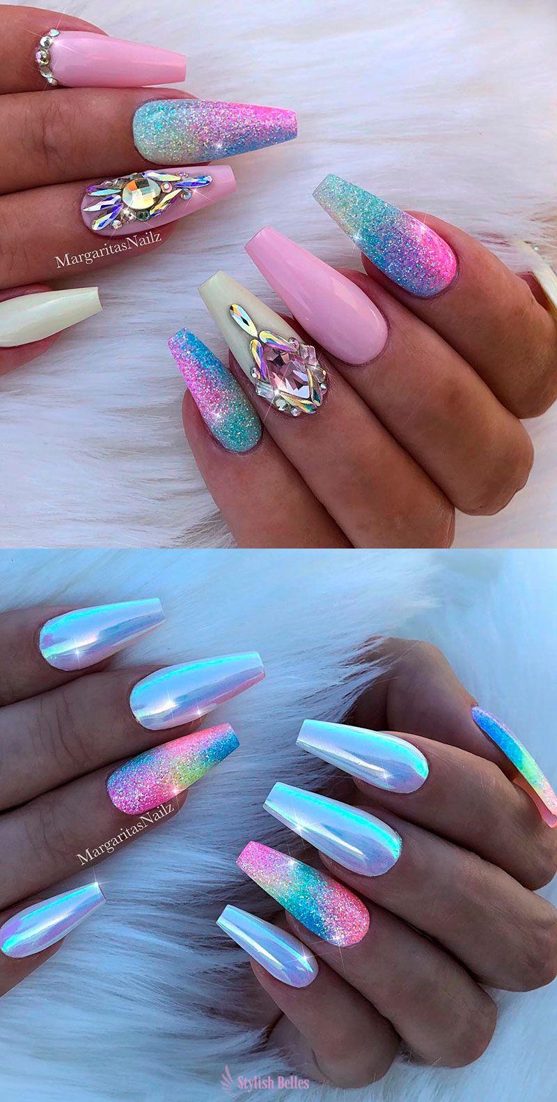 The Best Unicorn Nail Art Design Ideas Tutorials With Images Gelove Nehty Pastelove Nehty Akrylove Nehty