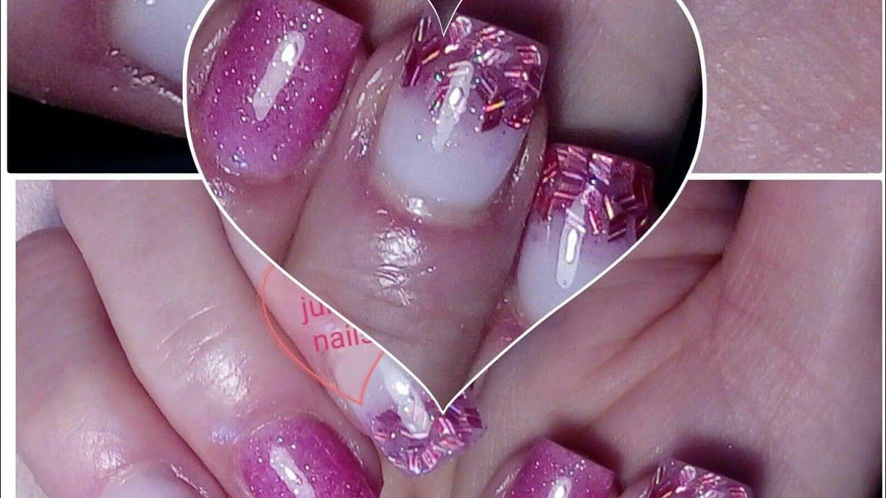Pink Glitters Gel Nails Ruzove Gelove Nehty Youtube
