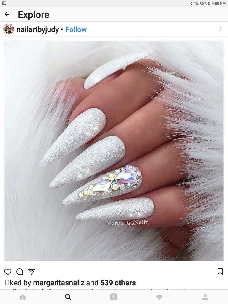 Coffin Shape Instead Gorgeous Nails Unas Stiletto Blancas Unas Blancas Unas Para Novia
