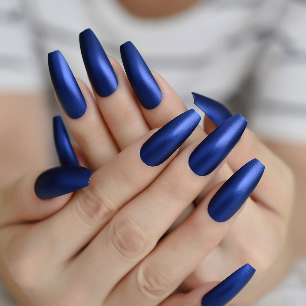 Long Ballerina Fake Nails Matte Diamond Blue Frosted Surface Ladies Extreme Long Faux Ongle Pre Designed Aliexpress Com Imall Com