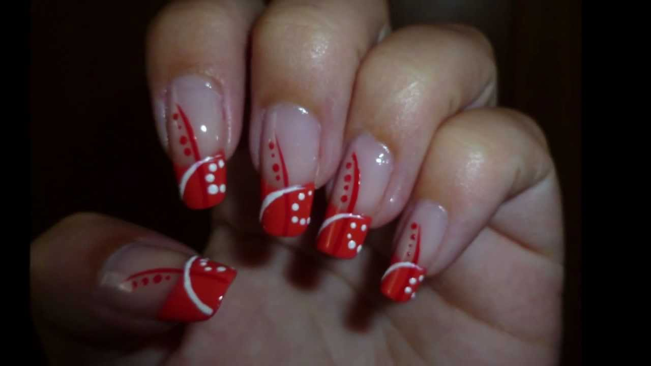 Simply Orange Red White Nail Art Jednoduche Oranzovo Cerveno Bile Nehty Youtube