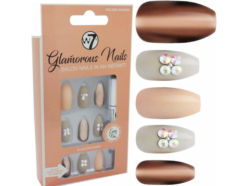 W7 Nalepovaci Nehty Glamorous Nails Golden Sahara 24 Ks Dekorativka Cz