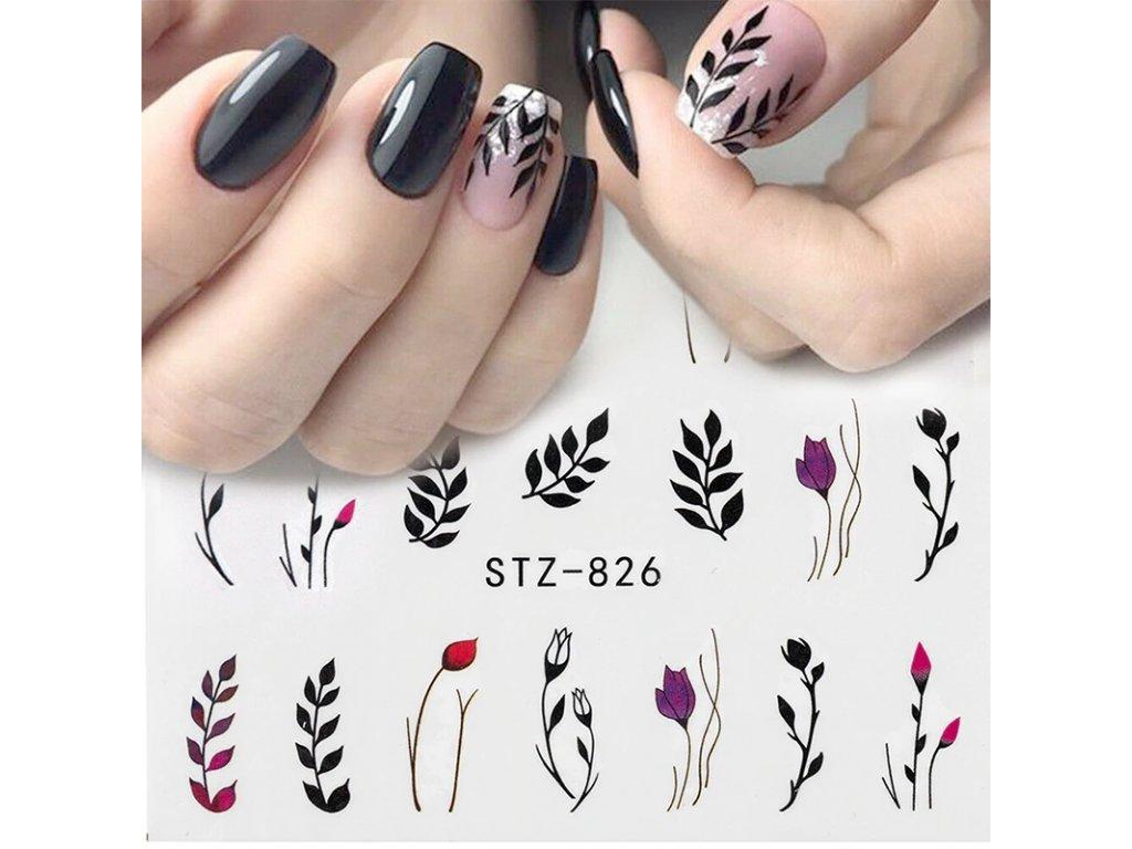 Samolepky Na Nehty Cerne Kvety