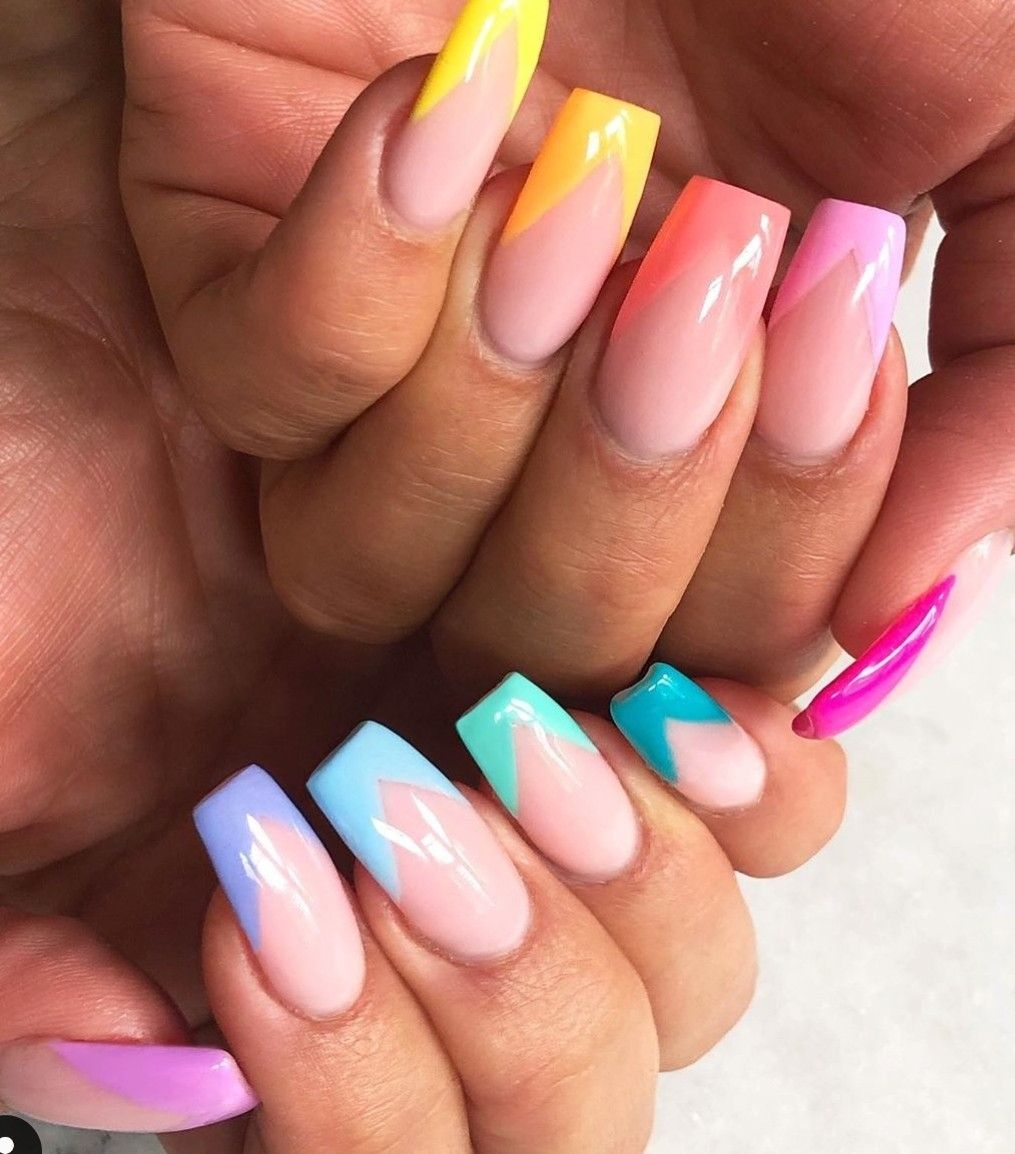 Pin By Niki On Nail Art Obsession French Tip Acrylic Nails Rainbow Nails Best Acrylic Nails