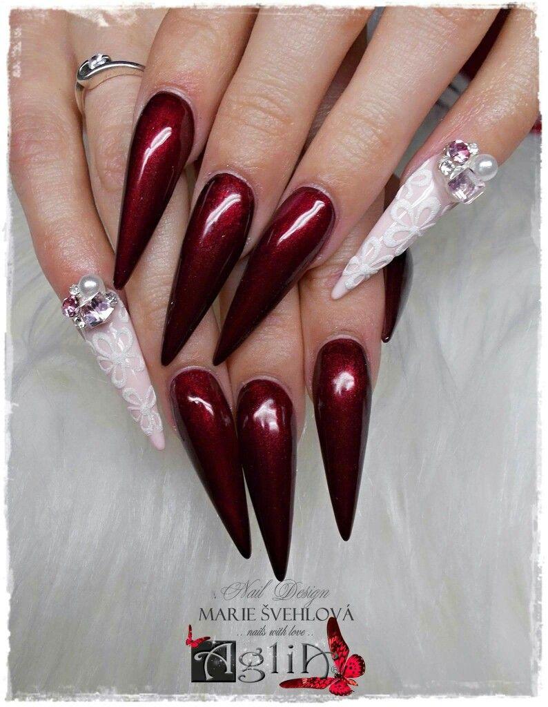 Acrylic Nails Gel Design Dark Red Nails
