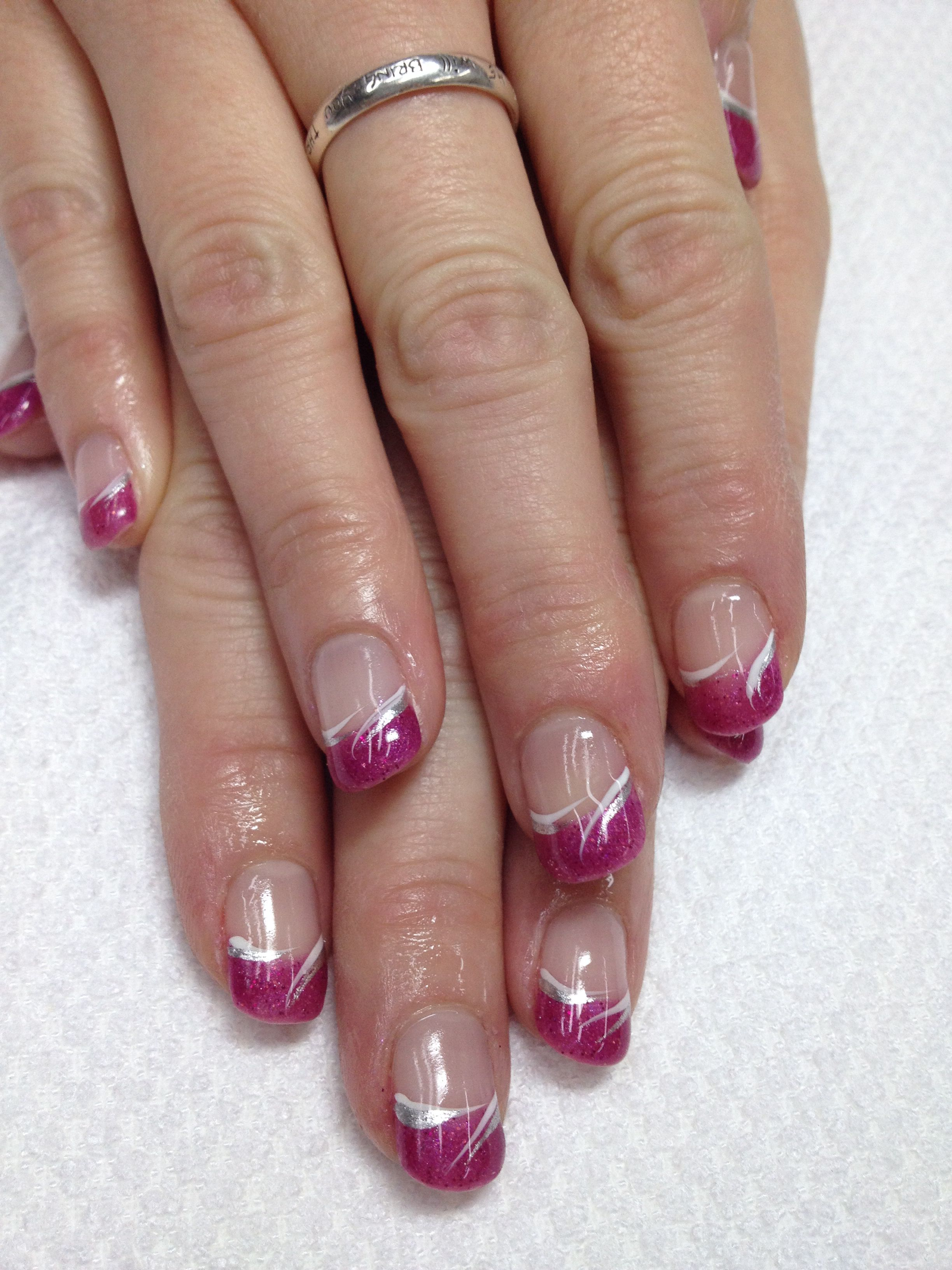 Love These Fun Pink French Gel Nails And Swished Accents Ties The Whole Look Together Of Cours French Manicure Nail Designs Manicure Nail Designs Gel Nails