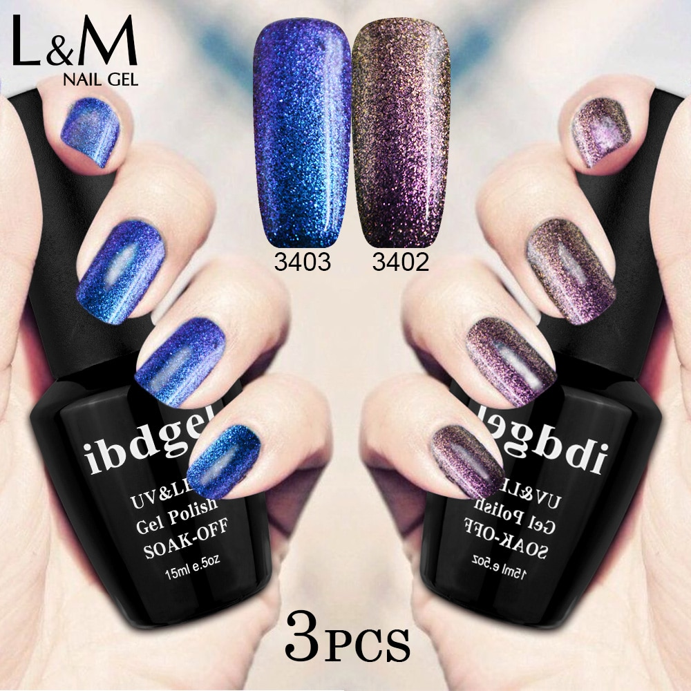 Bilo Koji 3 Kom Set Chameleon Gel Lak Gel Lakovi Trajni Diy Art Nail Gel Boje Mix Top Coat Base Coat Color