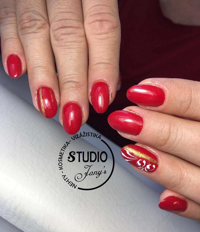 Krasna Cervena Red Quick Gel Gold Supreme Artic White French Ornament Lesk Gladiator Aglialove Autumnna Red Nails Round Nails Glitter Nails