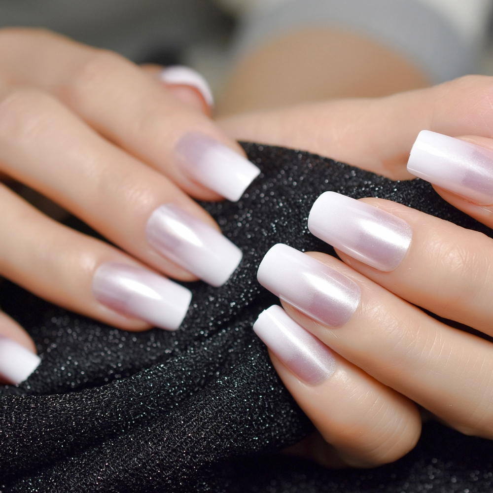 Pearl Shine Glossy Fake Nails Shimmer White Square Ombre French Nail Faux Ongles Gradient Medium Fingernails With Gluetabs Aliexpress