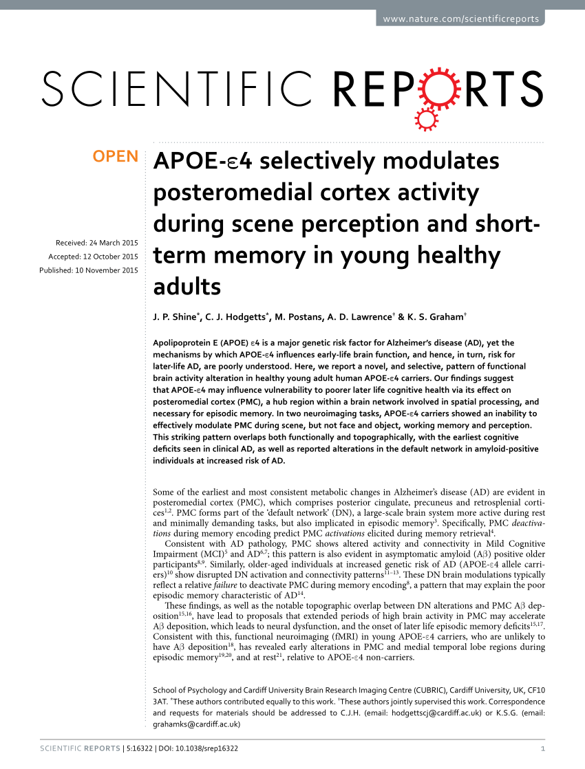 Pdf Apoe E4 Selectively Modulates Posteromedial Cortex Activity During Scene Perception And Short Term Memory In Young Healthy Adults