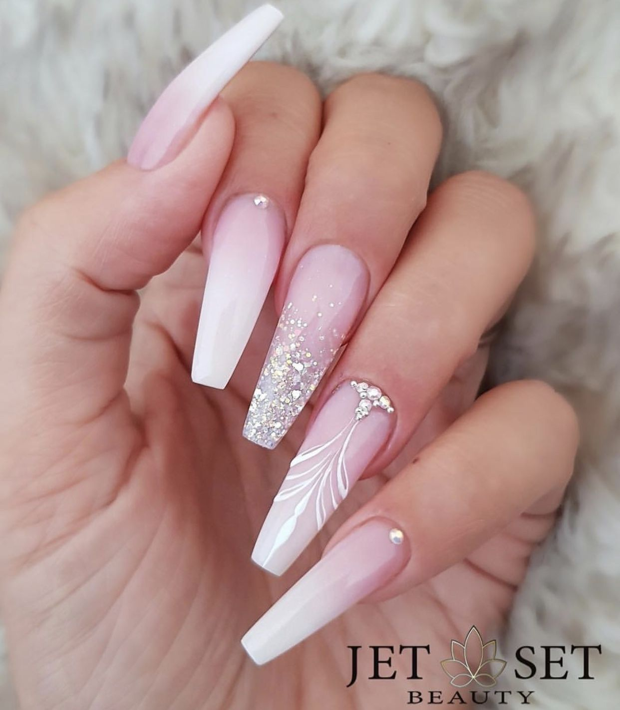 Pin By Angelina On Wedding In 2020 Bride Nails Pink Acrylic Nails Cute Acrylic Nails