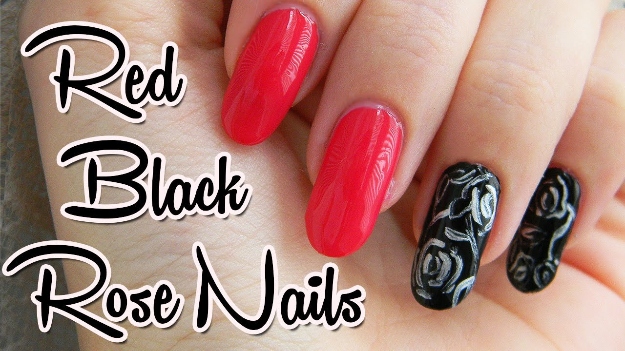 Cerveno Cierne Nechty S Ruzickami Red And Black Nails With Roses Youtube