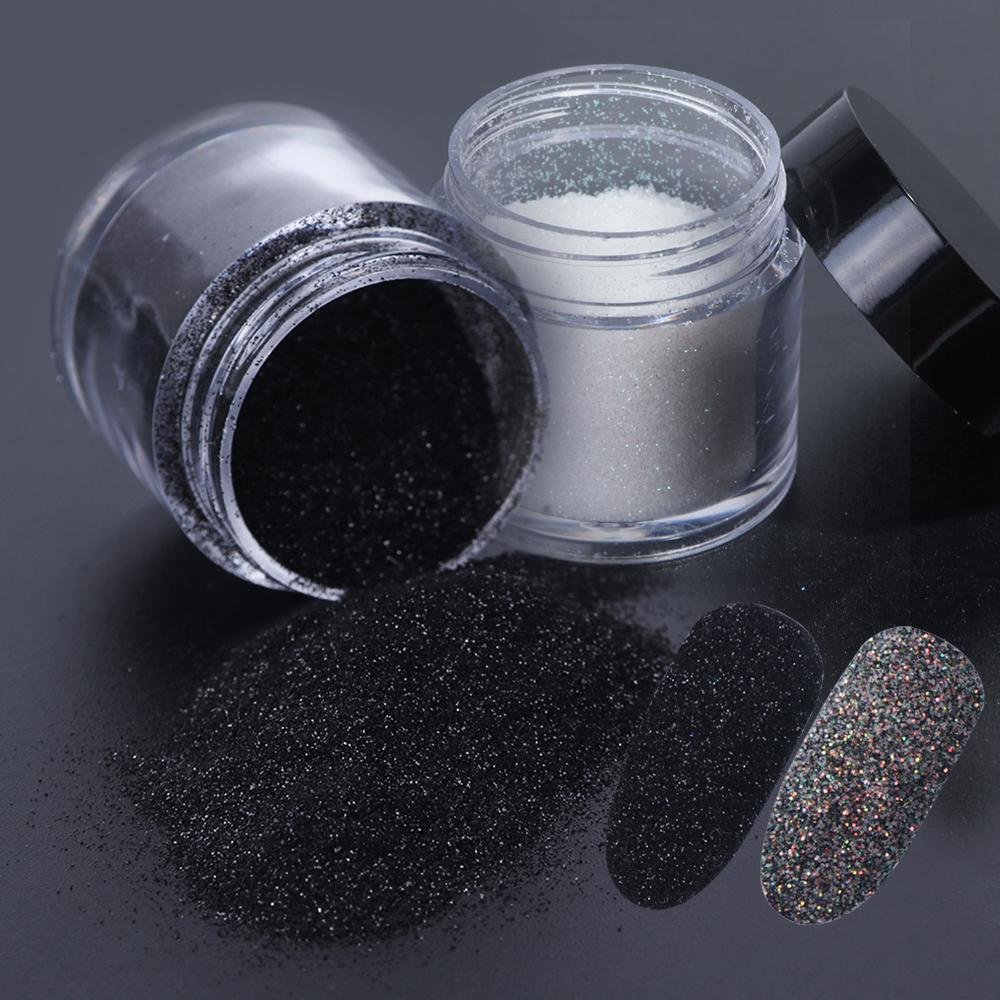 Full Beauty Holographic Nail Powder Sugar Glitter Dipping Powder Nail Chrome Pigment Gel Polish Sparkly White Black Dust Chmn Aliexpress